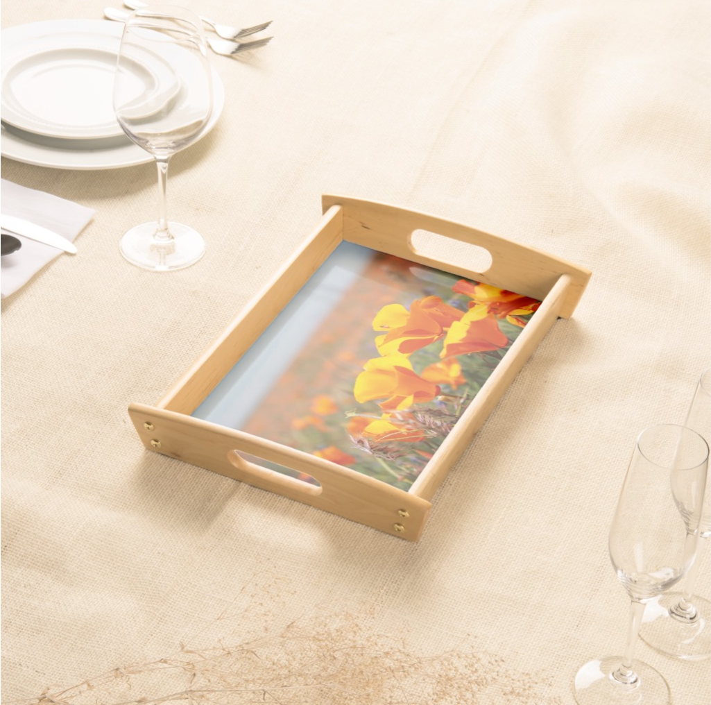 Serving Tray with Poppies