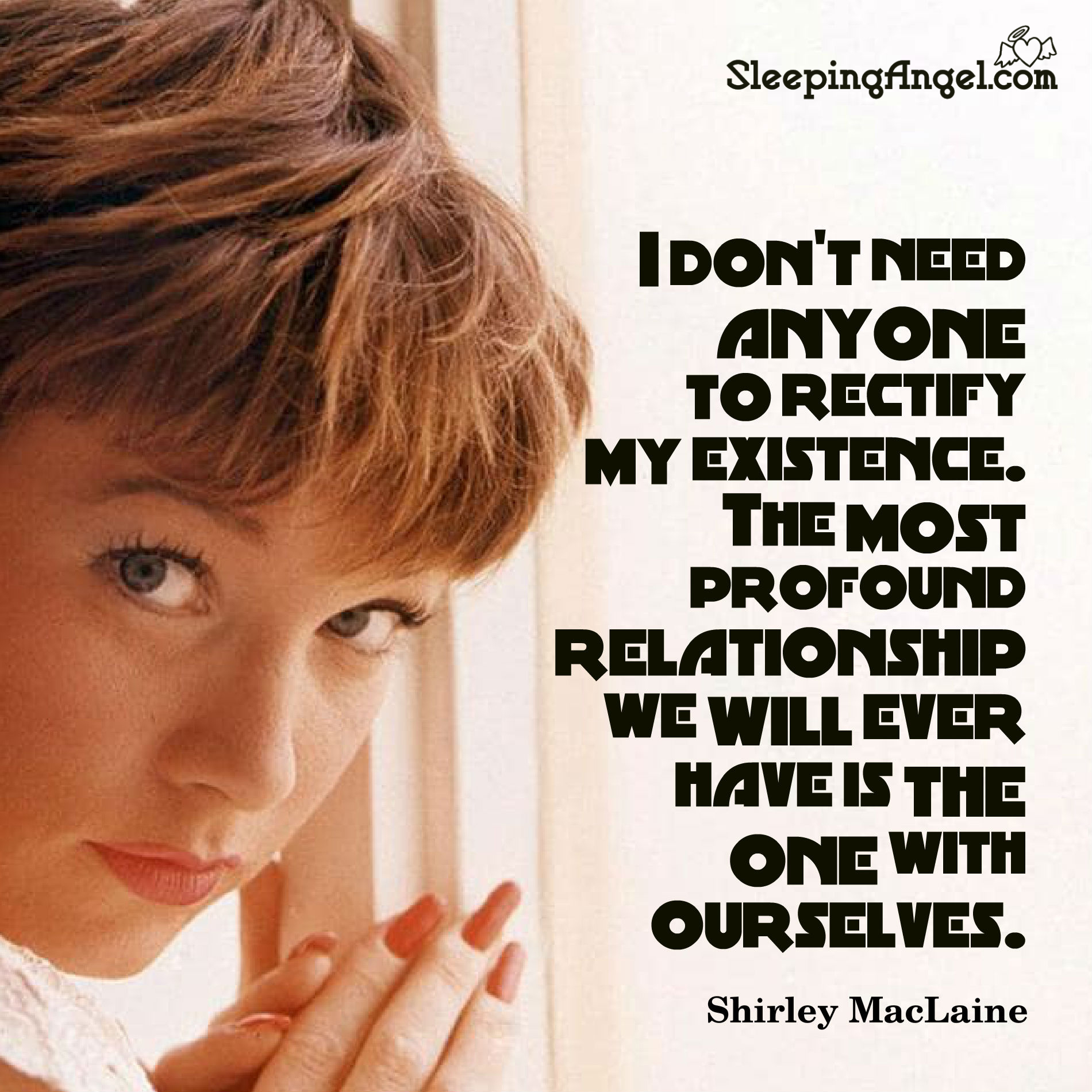 Shirley Maclaine Quote Sleeping Angel